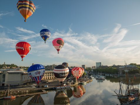 View of balloons taking off from Wapping Wharf